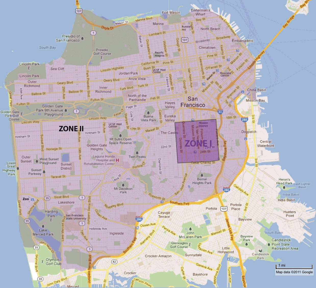 Map of San Francisco with two zones marked I and II